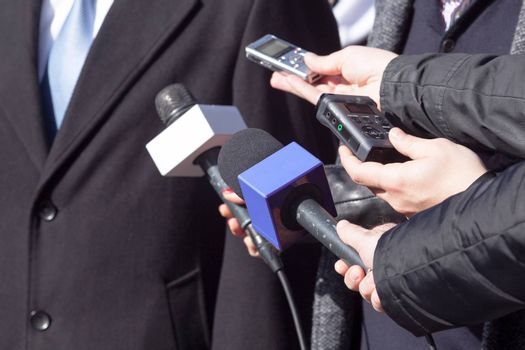 Media interview with businessperson or politician