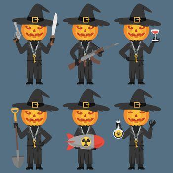 Pumpkin Holds Weapons Machetes Shovel Poison Bomb