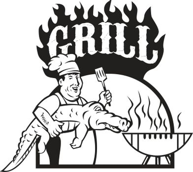Chef Carry Alligator Grill Cartoon