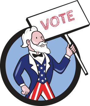 Uncle Sam Holding Placard Vote Circle Cartoon