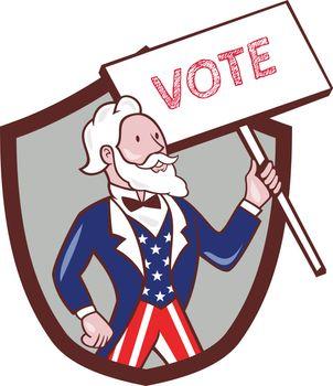 Uncle Sam American Placard Vote Crest Cartoon