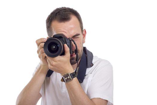 Young photographer isolated on white background - horizontal image