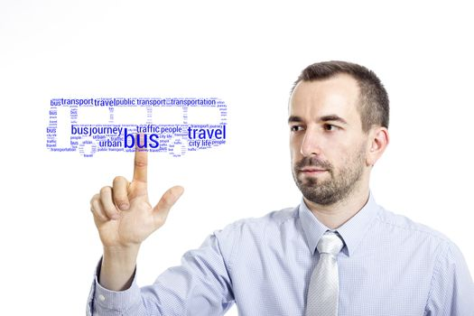 """Young businessman in blue shirt with small beard touching """"Public transportation"""" word cloud"""