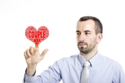 """Young businessman in blue shirt with small beard touching """"Couple"""" word cloud"""