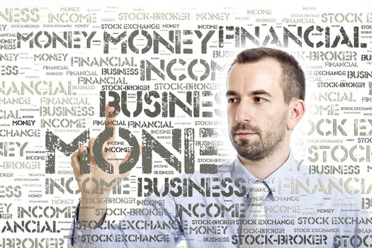 """Young businessman touching """"Money"""" word cloud - isolated in White background"""