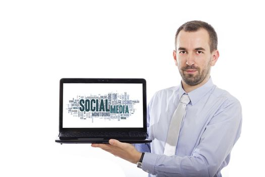 Businessman holding Laptop with Social Media concept - with isolated background