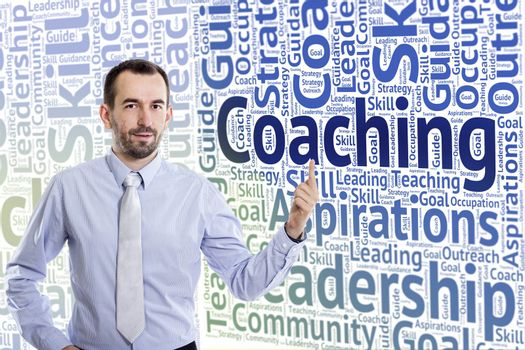 Young buinessman with small beard pointing up Coaching text