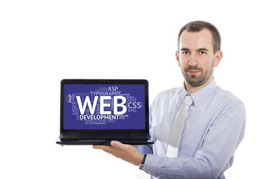 Businessman holding Laptop with Web Development concept - with isolated background