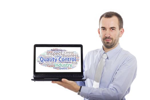 Businessman holding Laptop with Quality Control concept - with isolated background