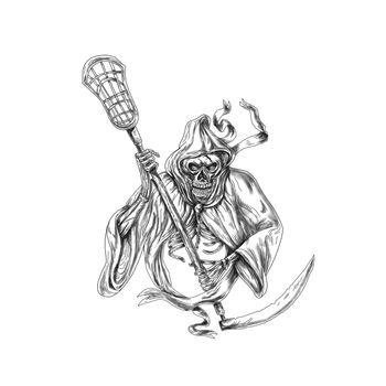 Grim Reaper Lacrosse Defense Pole Tattoo