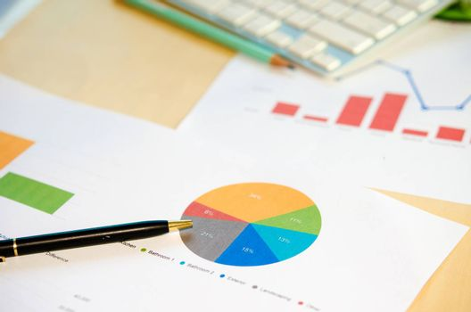 business documents with charts growth and pen