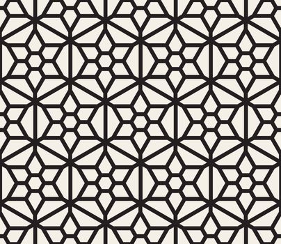 Vector Seamless Black And White Hexagonal Grid Pattern. Abstract Geometric Background Design
