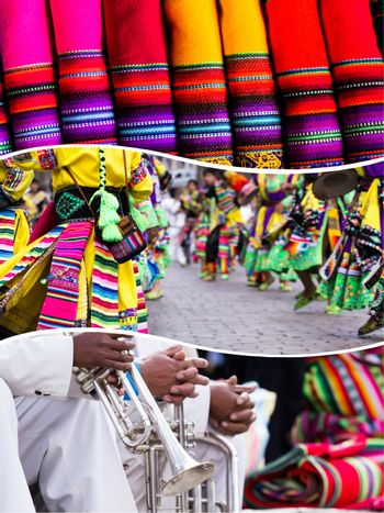 Collage of Peru traditional culture images - travel background (my photos)