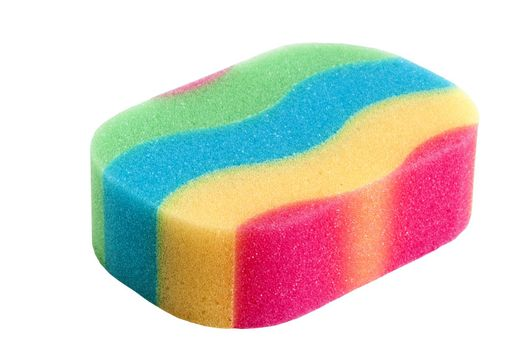 a  colored sponge  on a  white background