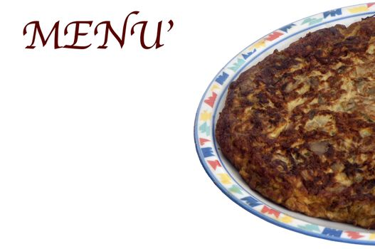 a menù of  omelet with spinach and leeks