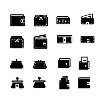 Wallet  icons set 16 item