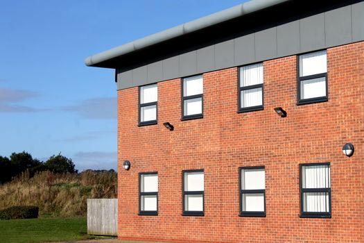 Empty modern office building exterior
