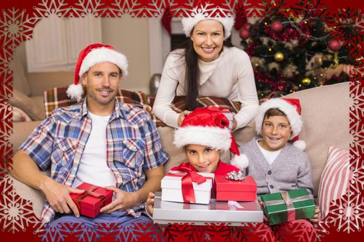 Composite image of happy family portrait