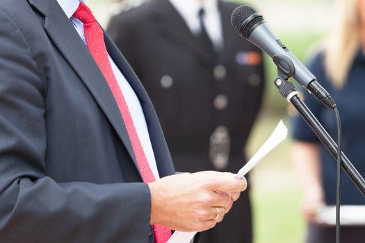Politician is giving a speech