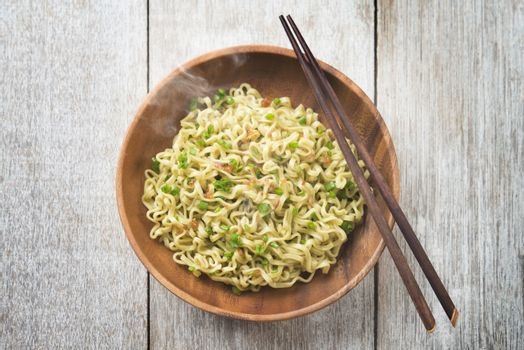 Delicious Asian Japanese dried ramen noodles top view
