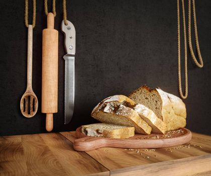 Fresh bread with oat sliced on a slate cutting board photo background copy space