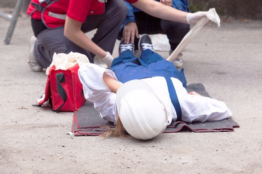 First aid after work accident