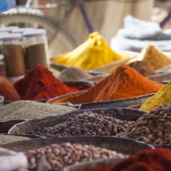 Arabic spices at traditional market. Morocco. Africa.