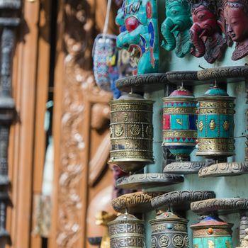 Nepalese Prayer Wheels on Swayambhunath stupa in Kathmandu, Nepa