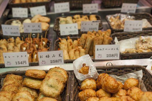 Traditional asian food market, Japan.