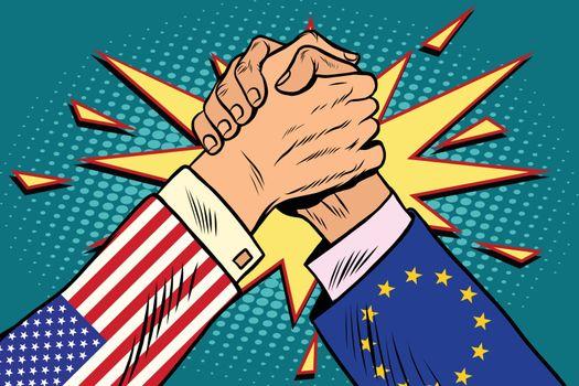 USA vs EU Arm wrestling fight confrontation