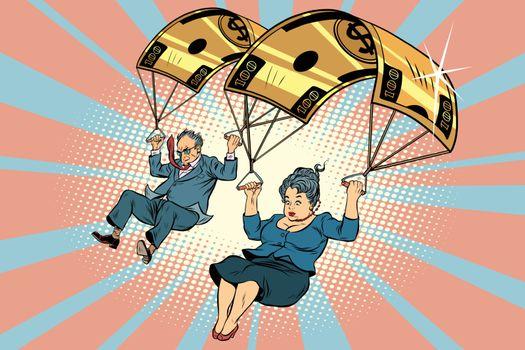 Golden parachute financial compensation in the business. Comic book vintage pop art retro style illustration vector