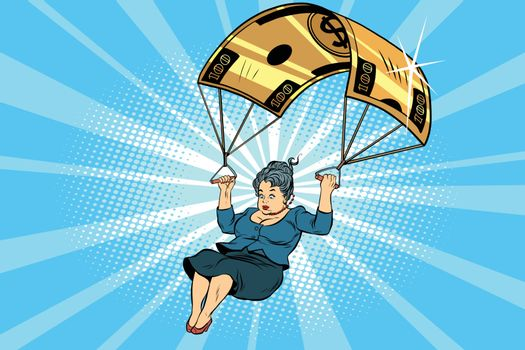 woman Golden parachute financial compensation in the business. Comic book vintage pop art retro style illustration vector