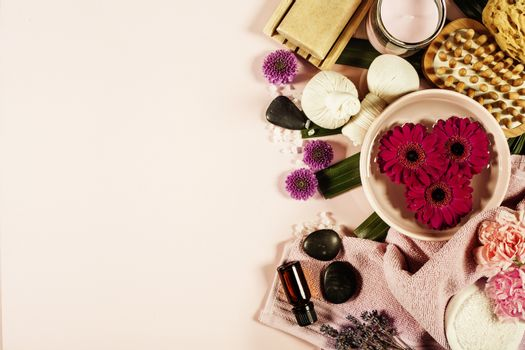 Spa background. Flat lay