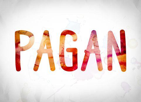 Pagan Concept Watercolor Word Art