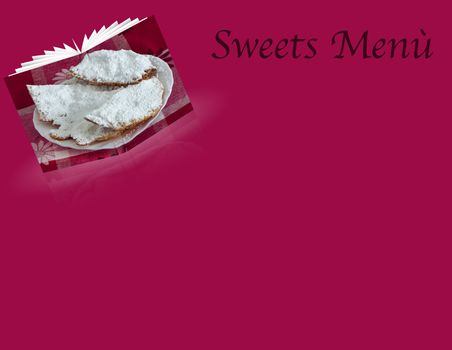 a sweets menù  for a Carnival and Easter