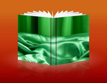 book of a elegant background with a green fabric