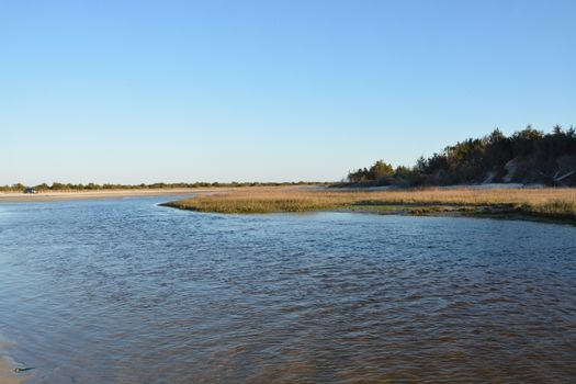 A view of the shore around the north end of Carolina Beach.
