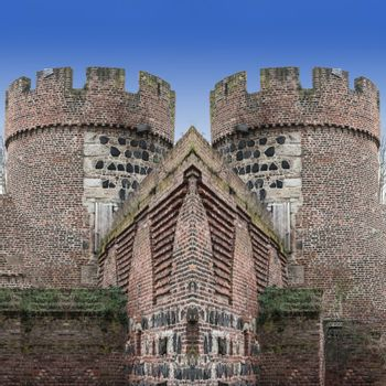 Photomontage, the Kroetschenturm with city wall in the city Zons am Rhein, Germany.