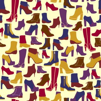 vector  pattern of fashion Shoes silhouettes. Background for wallpapers, pattern fills, web page backgrounds, surface textures, textile.