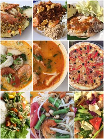 Collage of various dishes, different cuisine food product. Collection asian food background for your design.