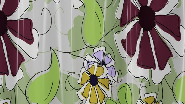 3D Illustration Abstract Floral Background Silk Cloth