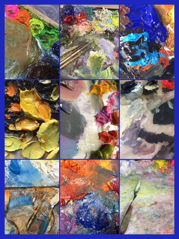 Collage of variety of colorful acrylic paints palettes, Beautiful still life with professional art materials . Background for the workplace of the artist.