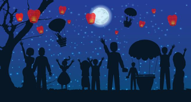 date. people silhouette travel balloon. illustration. use a smart phone, website, printing decorating etc