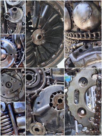 Collage of Robot parts mechanical. Background of steampunk, technology theme.