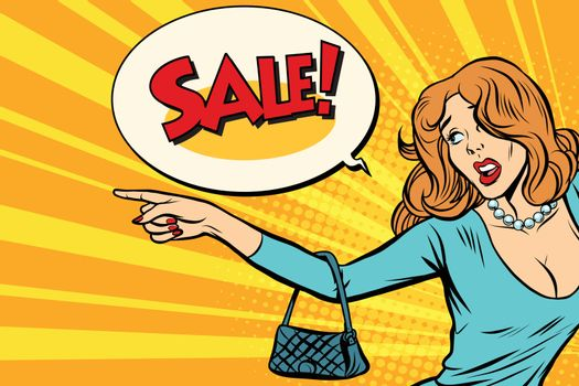 The woman indicates sales