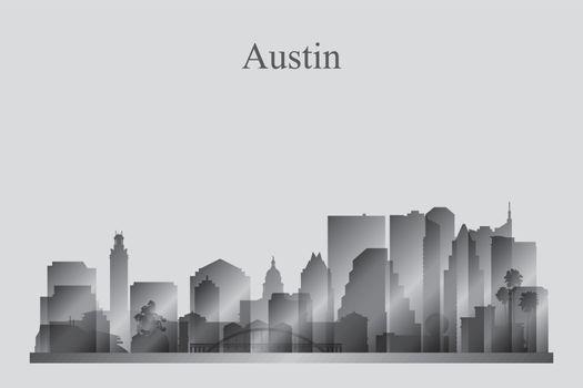 Austin city skyline silhouette in grayscale