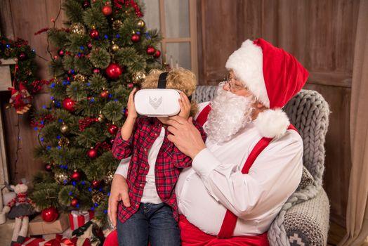Child wearing virtual reality headset