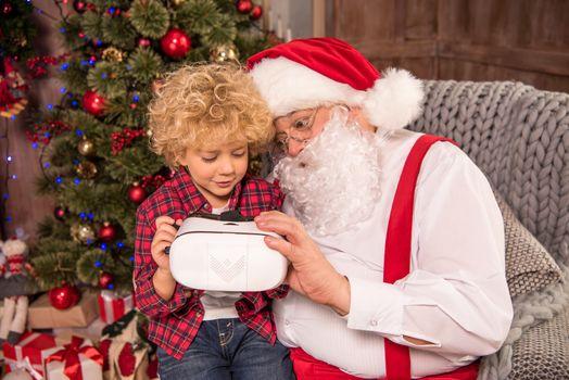 Child using virtual reality headset