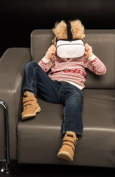 Kid using virtual reality headset