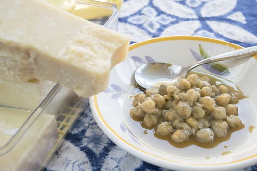 chickpeas soup and parmesan cheese